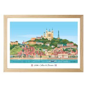 Affiche A4 paysage Lyon Fourvière - Les éditions du Lyonnais & Heureux comme un Prince