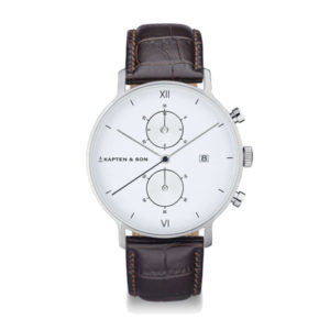 Montre chrono Silver White Leather - Kapten & Son & Heureux comme un Prince