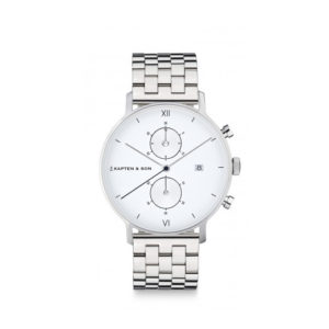 Montre chrono small Silver White - Kapten & Son & Heureux comme un Prince