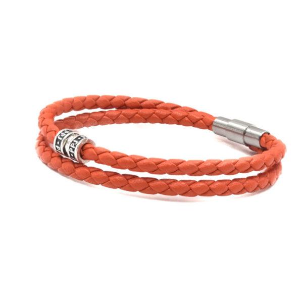 bracelet-cuir-orange-double-tour pierre paule jacques heureux comme un prince